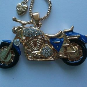 New Betsey Johnson motorcycle pendant necklace