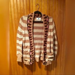 Anthropologie Sparrow Tan & Cream Knit Sweater