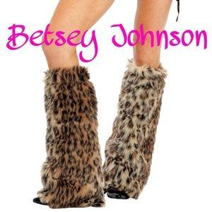 Betsey Johnson luxury fur legwarmers.