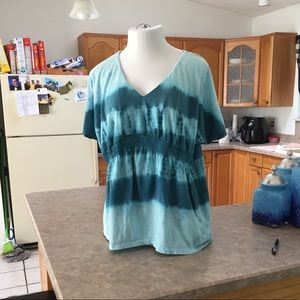 Style & Jean Company Teal Tie Dyed Tee in 1X