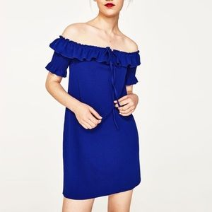 Zara blue ruffle off the shoulder dress