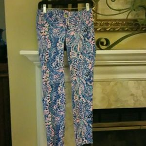 Lilly Pulitzer Kelly Skinny Pants SZ 2 Tile EUC