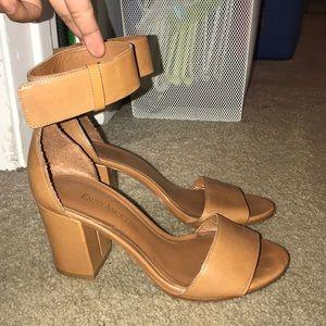 Tan block leather heels