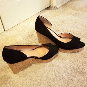 H&M Black Suede Cork Wedge Heels Size 7 NWOT