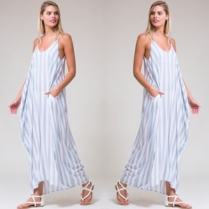 Striped Cocoon Pocket  Maxi Dress