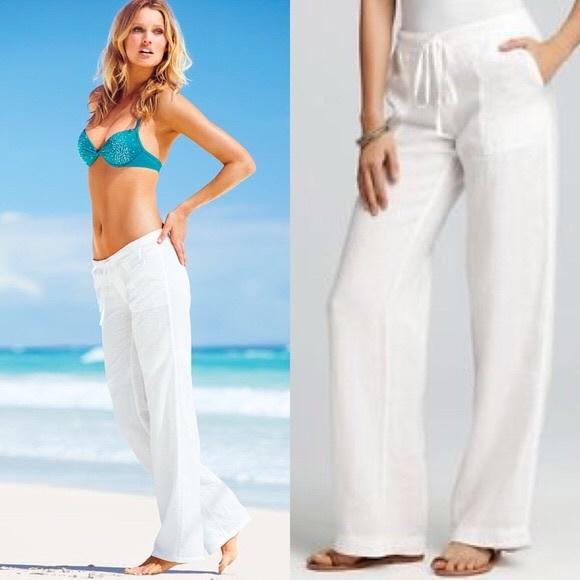 57aa30f262e8f Classic resort wear. Wide leg white linen pant.
