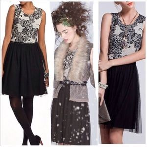 Anthro black lace and tulle dress sz L