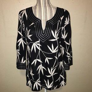 Talbots  bamboo leave print v-neck blouse