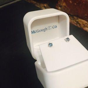 McGough & Co Blue Sapphire Studs w sterling silver