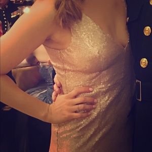Lulus Rose Gold Floor Length Dress