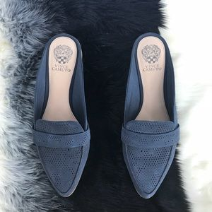 "Vince Camuto ""Kaylana"" Blue Perforated Mules"