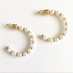 Gold and white pearl hoop earrings