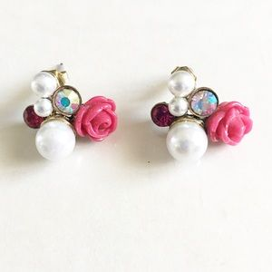 Cluster rose and pearl earrings