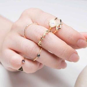 Jewelry - Gold Triangular Pink Crystal Opal Midi Rings 5pc