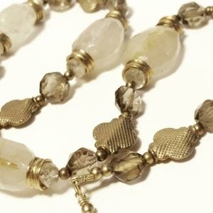 Faceted Quartz Beaded Gold Tone Necklace
