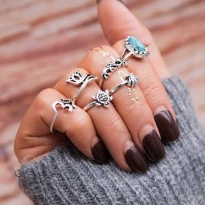 Jewelry - Turkish Silver Boho Turquoise Midi Knuckle Rings
