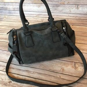 Nicole Miller gray vegan leather crossbody bag