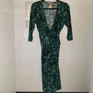 Miss Tina wrap dress large green print