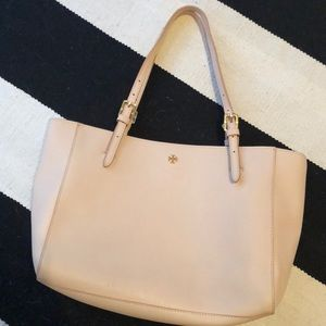 Small Tory Burch light pink York tote