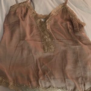 Tan Tank Top with Lace Detailing