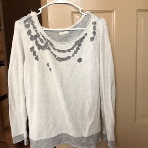 Urban Outfitters Distressed Collar Gray Sweater