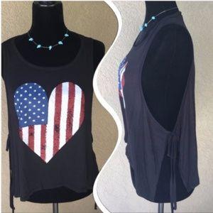 🆕Orange Creek patriotic heart open side tank
