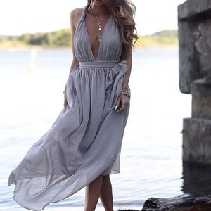 Stunning Purple - Gray Deep V Chiffon Maxi Dress !