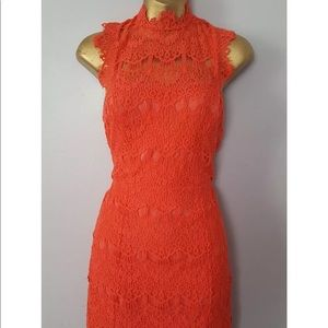 Free People Lace High Neck dress Holiday size Sm
