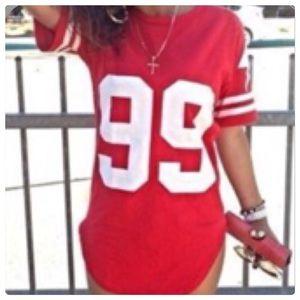 Super Sexy Red /White Football Tee Night Shirt