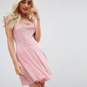 Pink ruffle sleeve dress