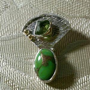 Jewelry - Artisan Sterling Peridot/Turquoise Pendant