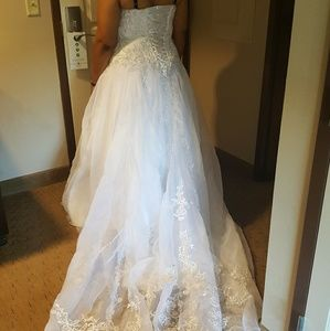 Beaded and laced princess wedding gown veil, slip