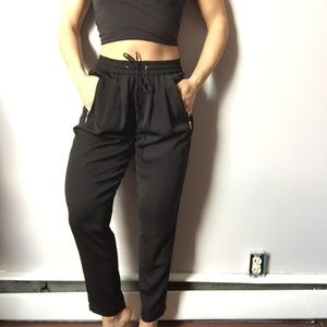 Black silky straight leg pants