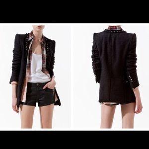 Zara Boucle/Tweed Studded Blazer S