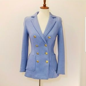 H&M Soft Blue Button Front Military Jacket