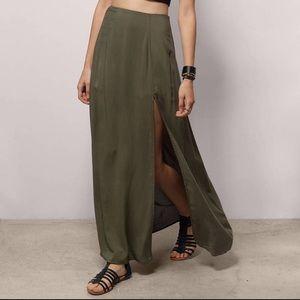 TOBI olive green maxi skirt