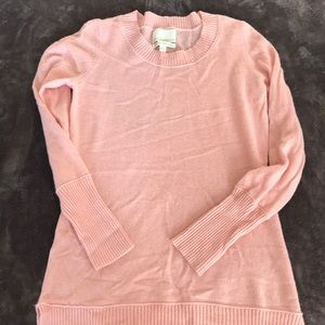 Longer length pink cashmere sweater