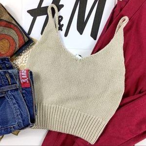 Divided Crochet Knit Strapless Sweater Crop Top