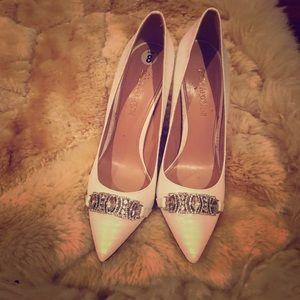 White bejeweled heels