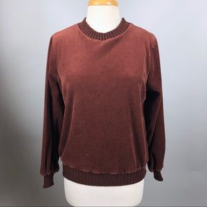 Vintage 70s Brown Velour Sweatshirt