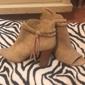 NWOT XOXO Tan Peep Toe Boots