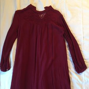 Forever 21 dress maroon lace long sleeve