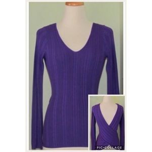 Guess V neck Cross back rubbed knit Top Sweater M