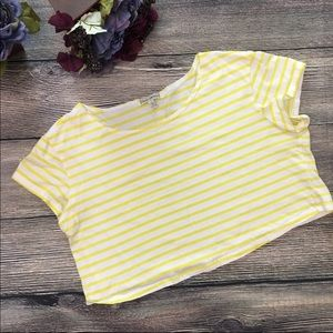 Lucca Couture crop copped top tee stripe sz large