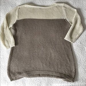 Taupe and cream sweater with 3/4 length sleeves