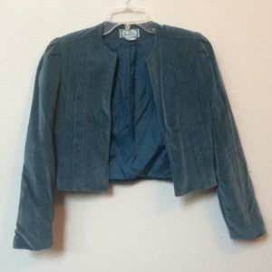 Holiday velour pleated crop jacket