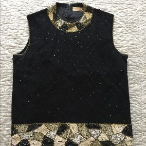 Sweaters - Vintage 60's Sequined Sweater Sleeveless Vest