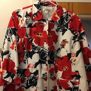 Coldwater creek red/white floral jacket