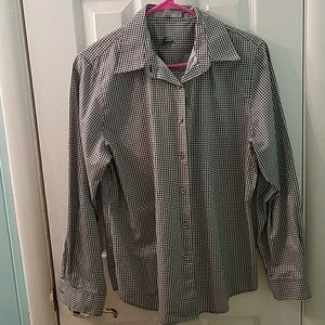 Foxcroft houndstooth long sleeve button up shirt