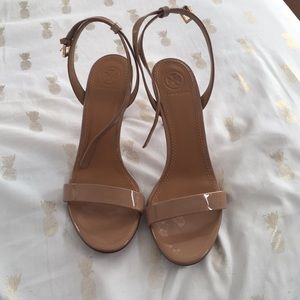Tory Burch nude strappy heels worn once!!!!!